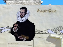 El Greco, the painter, as a mural in his hometown. (some claim he was born in Fodele)