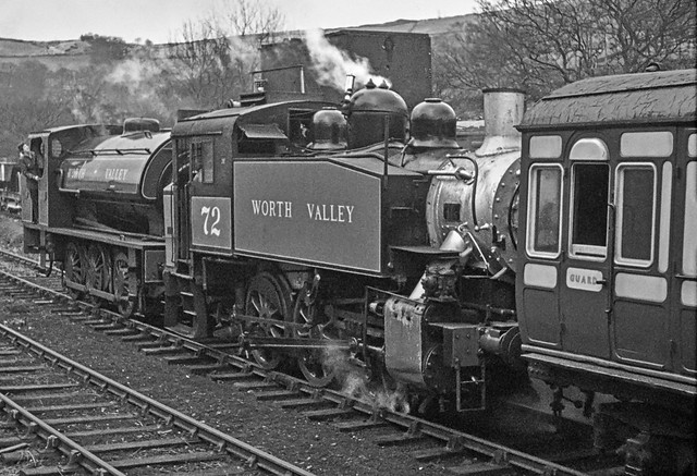 In the early days of the Keighley and Worth Valley Railway USA tank no.72 and RSH industrial saddletank