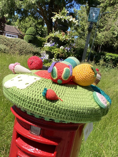 Crocheted postbox top in Eastcote