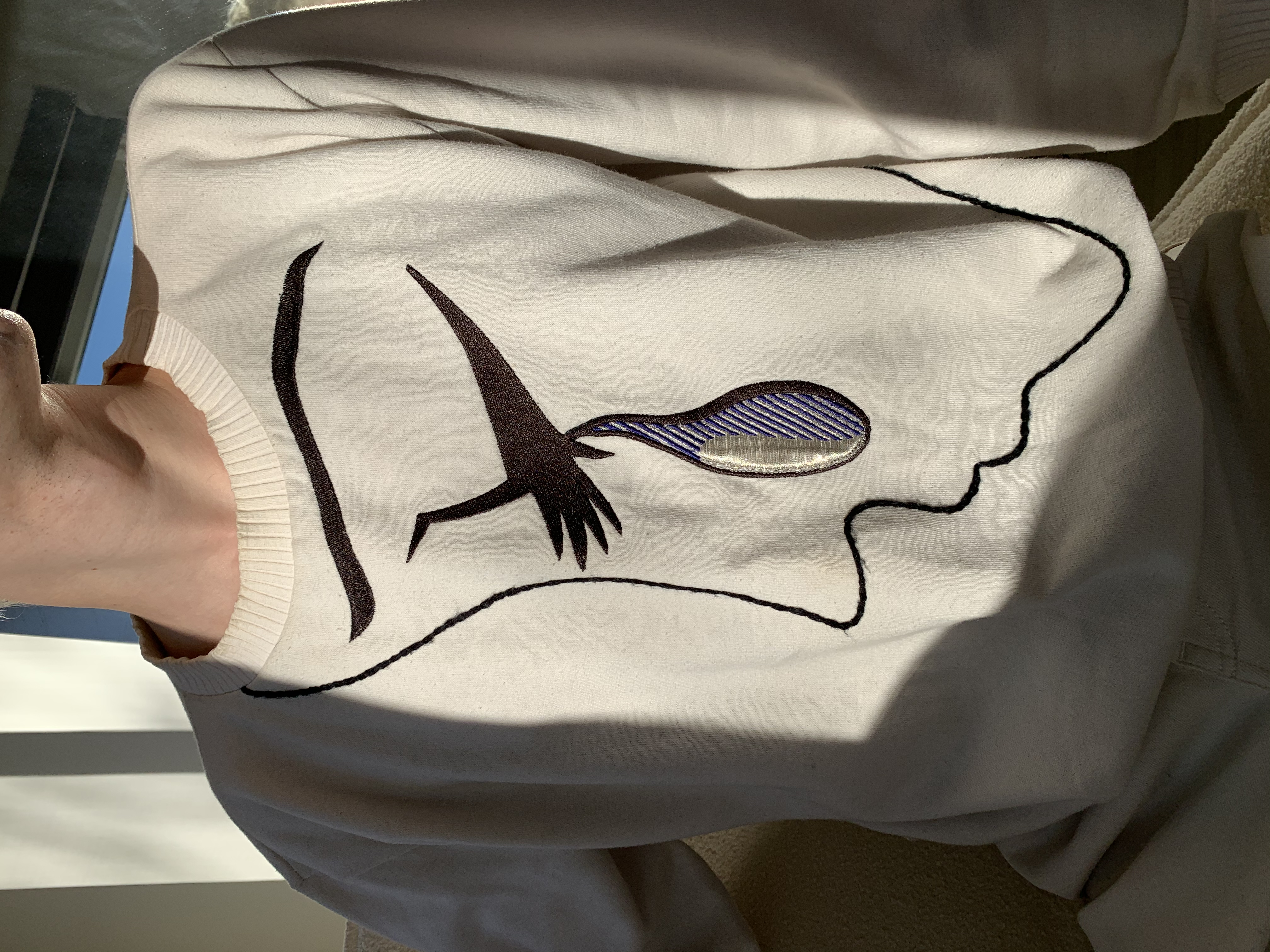 Roy Lichtenstein esque embroidered sweatshirt