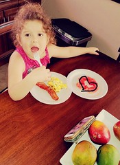 Started eating her fruit in the middle and unplanned made a heart. ud83dude0d