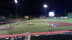 A view of the field from the top of the seating section.