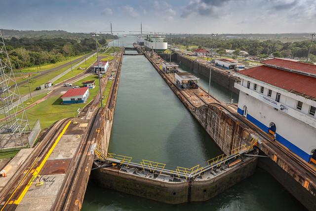 Armchair Traveling - In the Gatun Lock, Panama Canal