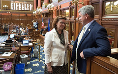 State Rep. Cindy Harrison talks with Rep. Pat Callahan during the special legislative session on Wednesday, June 16, 2021.