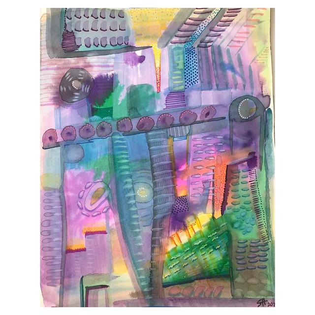"""""""Cityscape"""" 7.5"""" x 9.5"""" Watercolor, Marker, Paint Pen"""