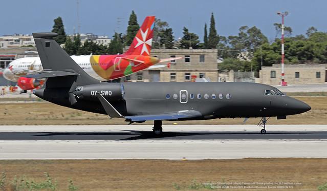 OY-SWO LMML 16-06-2020 Blackbird Dassault Falcon 2000S CN 725