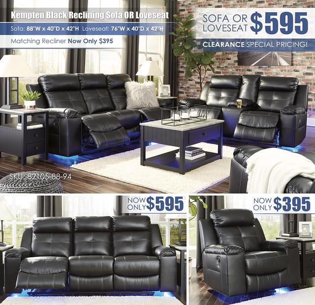 Kempten Black Reclining Sofa OR Loveseat_82105-88-94