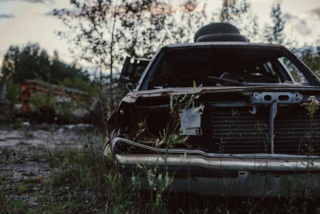 Sunset and abandoned garage