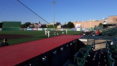 Some of the Joliet Slammers get some stretching in.