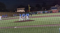 Quebec starting pitcher Codie Paiva is taken out of the game in the bottom of the 6th inning.