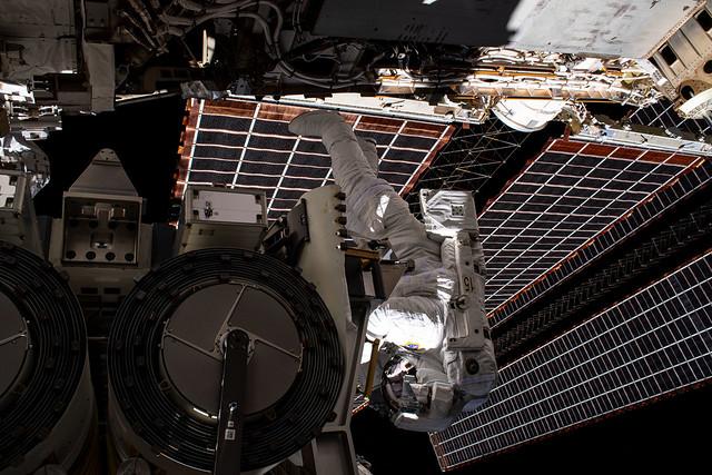 Astronaut Shane Kimbrough during a solar array installation a spacewalk