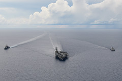 USS Ronald Reagan (CVN 76), USS Shiloh (CG 67) and RSS Intrepid (69) steam in formation while training together in the South China Sea. (U.S. Navy/MCSN Oswald Felix Jr.)