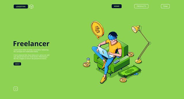 Vector landing page of freelancer, remote employee