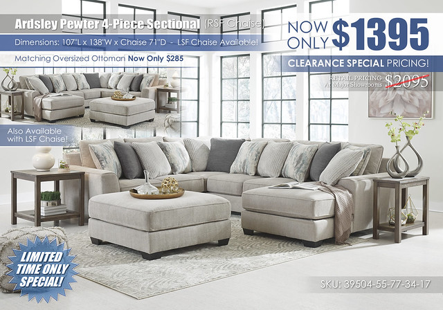 Ardsley Pewter 4PC Sectional RSF_Clearance_39504-55-77-34-17-08-T387_June2021