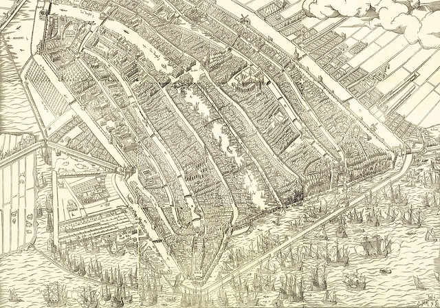 Amsterdam in Bird's-Eye View, Detail of a Woodcut Print by Cornelis Anthonisz. 1544