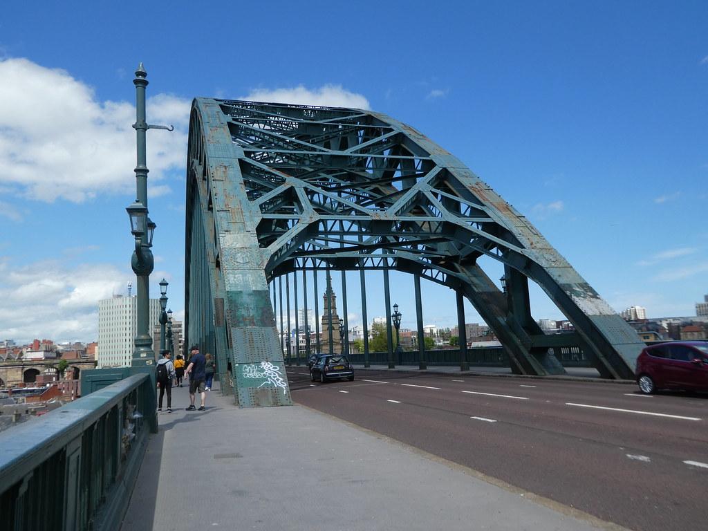 Walking across the Tyne Bridge