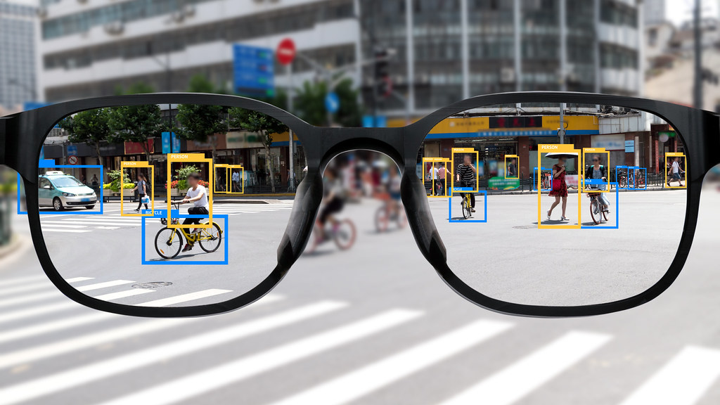 A street view seen through Augmented Reality glasses