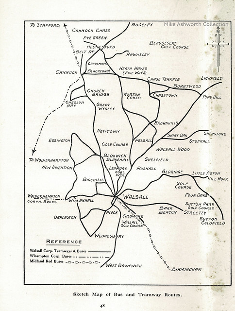 Walsall - the official handbook of the Corporation, c1927 : sketch map of bus and tramway routes