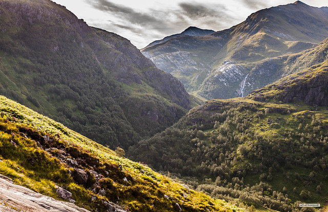 Archetypal Scottish Highlands. Glen Nevis Gorge and Steall Falls from the south slopes of Ben Nevis, Lochaber, Inverness-shire.