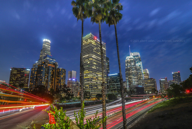 Downtown LA at evening time, after the pandemic