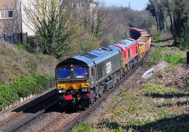 66779 + 66105 on the 6Y42 14.14 Hoo Junction Up Yard to Eastleigh East Yard engineers train seen at Northfleet on 30-3-21. Copyright Ian Cuthbertson