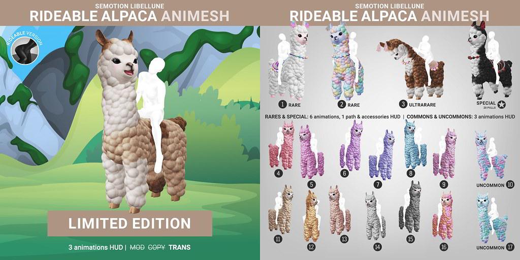 SEmotion Libellune Rideable Alpaca Animesh