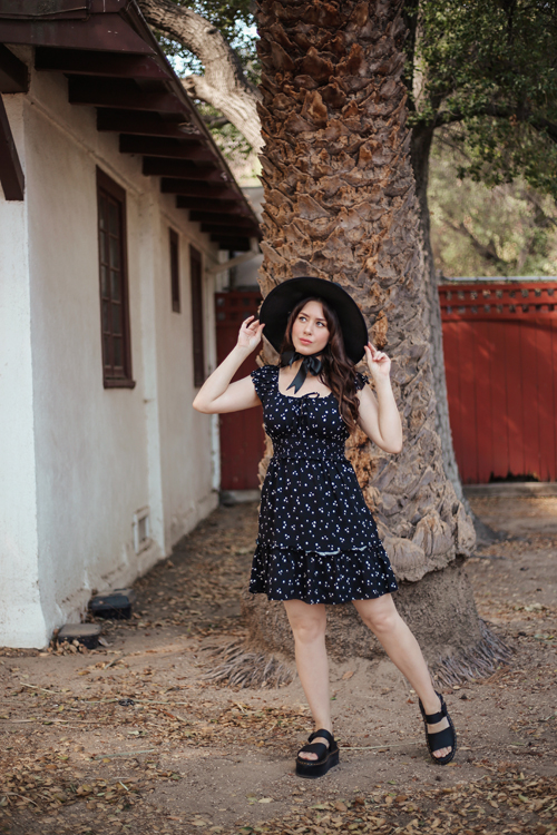 Southern California Belle Target Wild Fable Black Floral Sun Dress