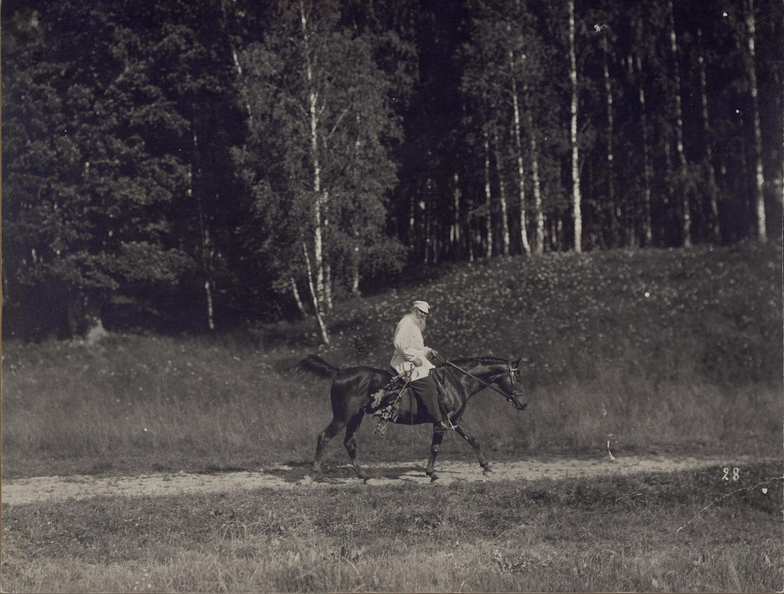 1908. Л.Н. Толстой верхом возвращается со станции