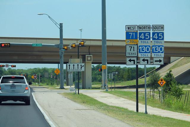TX71 East at TX45 TX130 Toll Signs