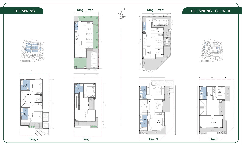 Thiết kế layout biệt thự Spring