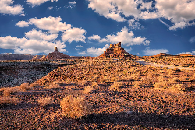 Late afternoon light in the Valley of the Gods near Mexican Hat, Utah