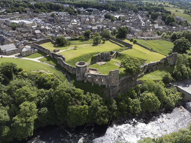 Barnard Castle aerial image - medieval castle in County Durham UK