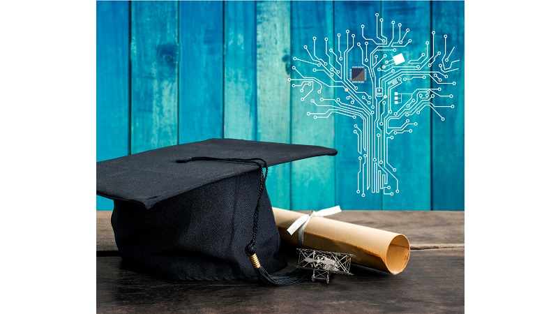 Alumni cap and degree certificate on blue background showing circuit-board knowledge tree image