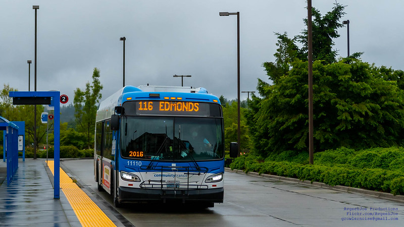 Incoming 2011 New Flyer Industries XD40 to Ash Way Park & Ride On A Damp Day - Widescreen