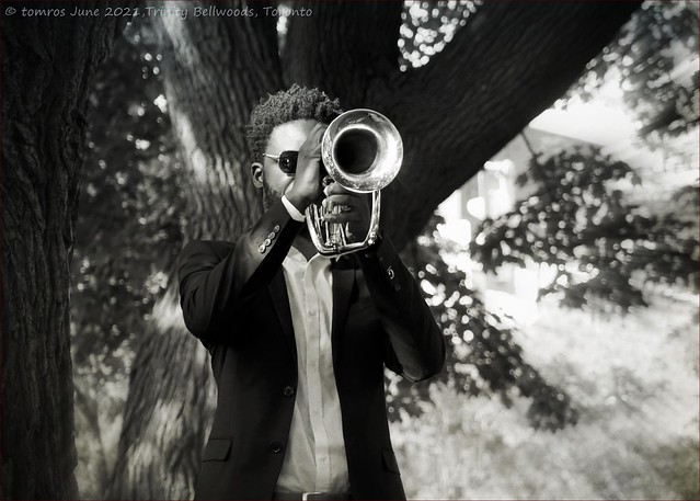 Rudy with cornet. Trinity Bellwoods Park.