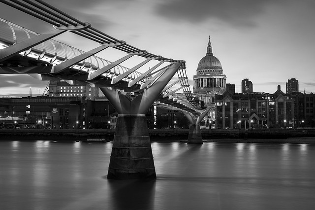 The view of St Paul's Cathedral across the Wobbly bridge.