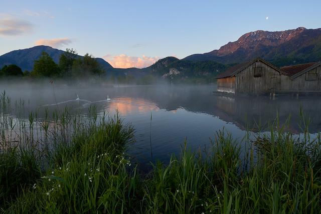 A Wonderful Sunrise and Moonset at Lake Kochelsee, Bavaria