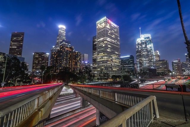 Downtown Los Angeles at blue hour after the full reopening of economy