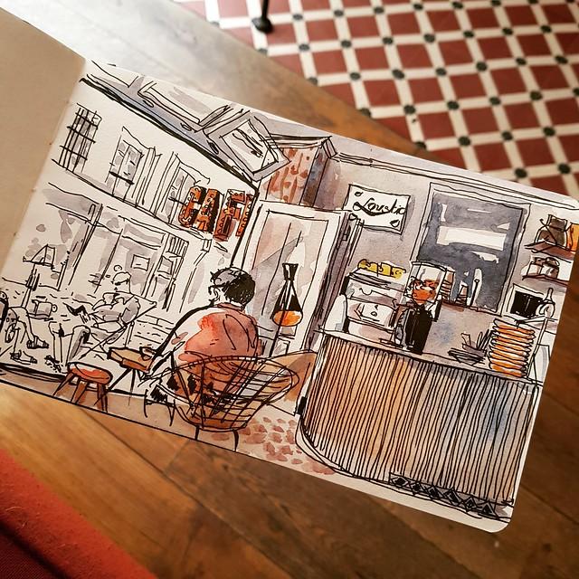 Sketch at Loustic coffee shop, Paris