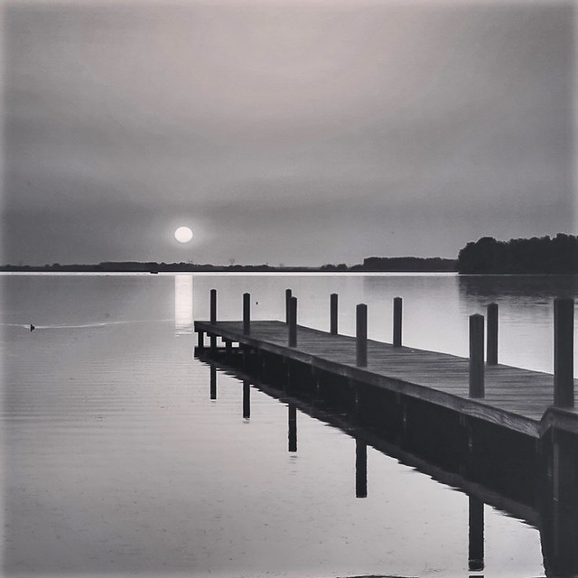 Sunset in black and white .