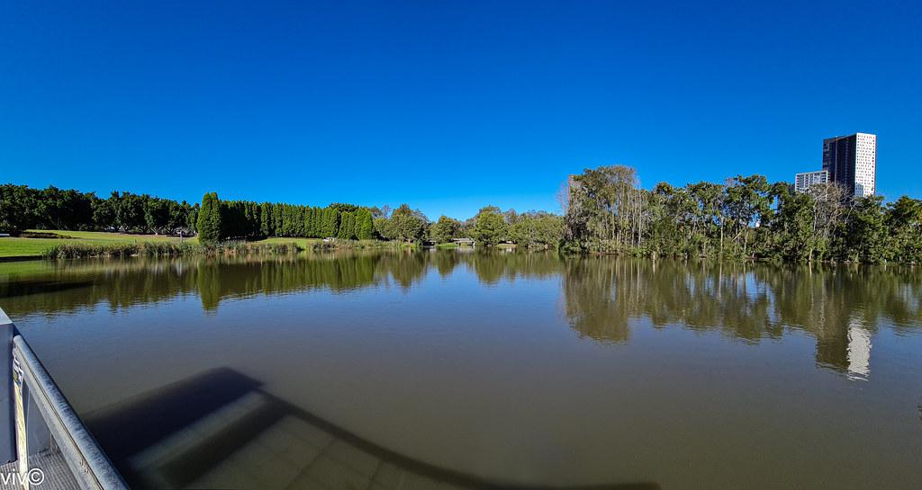 Picturesque Lake Belvedere at Bicentennial Park wetlands, Homebush, New South Wales, Australia