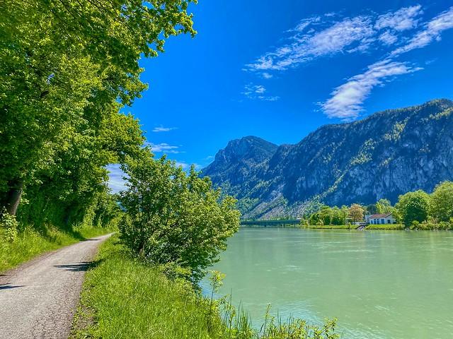 River Inn with Zahmer Kaiser mountain range near Kiefersfelden in Bavaria, Germany
