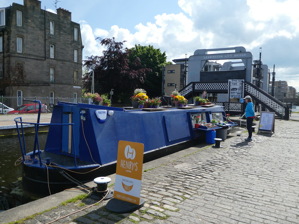 Leamington Lift Bridge and the Watershed Canal Boat Cafe, Edinburgh