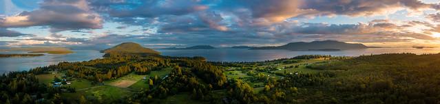 Aerial Sunset Panorama, Lummi island, Washington