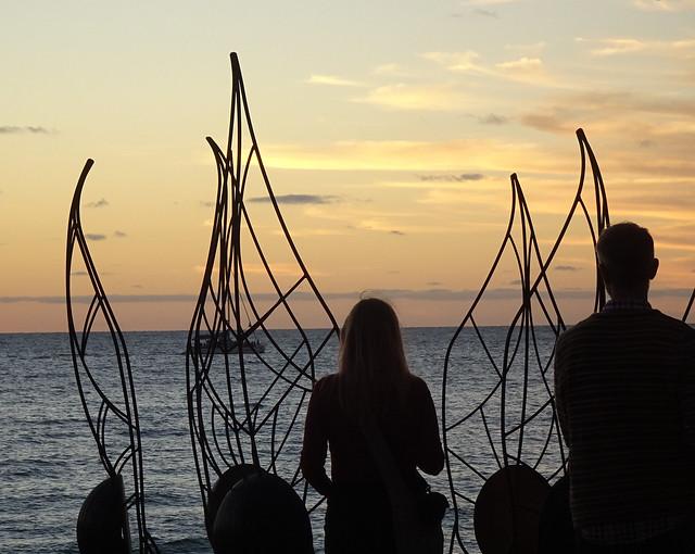 Standing with Sculptures