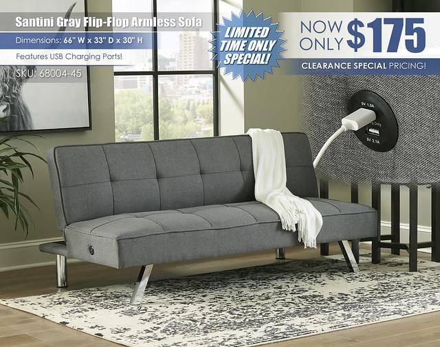 Santini Gray Flip Flop Armless Sofa_68004-45-UP-A4000232