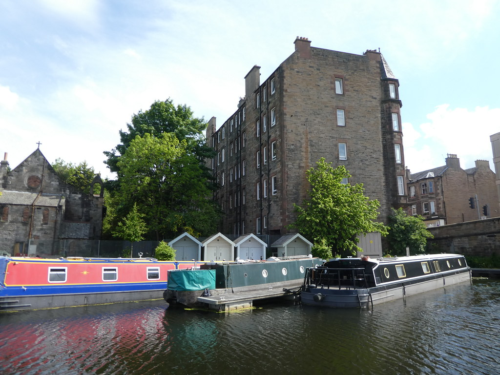 Canal boats at Viewforth Bridge, Edinburgh