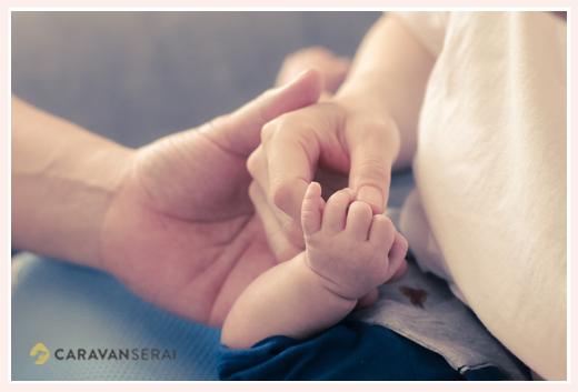 家族写真 親子3人の手