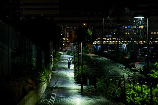 walking under street lights in the rain