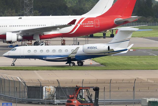 Private Gulfstream G650 N100AL at Birmingham Airport BHX/EGBB